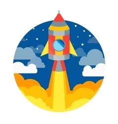 Rocket Ship Flying in Circle vector image