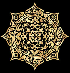 Round floral tattoo golden mandala pattern on vector