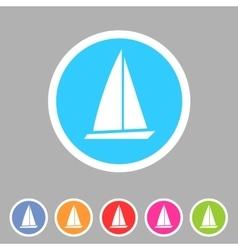 Sail boat yacht icon flat web sign symbol logo vector image