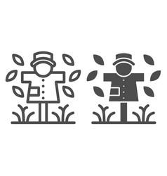 Scarecrow line and glyph icon garden doll vector