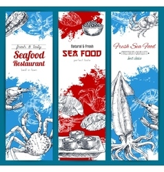 Seafood and fish food sketch banners set vector