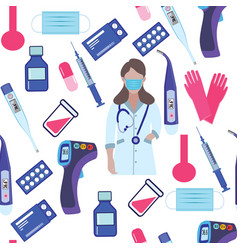 Seamless pattern with equipment medic and vector
