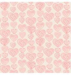 Seamless pink hearts vertical pattern vector