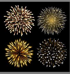 set golden fireworks vector image