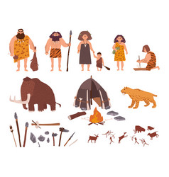 Set stone age theme primitive people children vector
