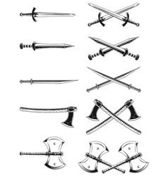 silhouette crossed sword axe engraving vector image