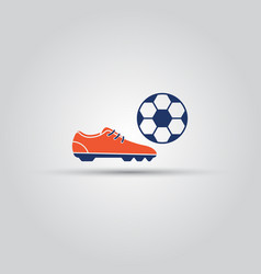 soccer shoes and ball isolated colored icon vector image