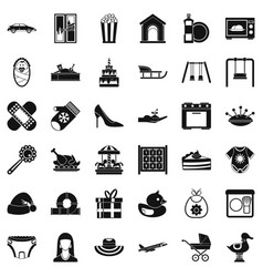 Son icons set simple style vector