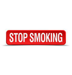 Stop smoking red 3d square button isolated on vector