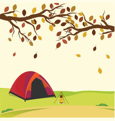 Tent in the autumn forest vector