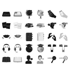 Translator and linguist blackmonochrome icons in vector