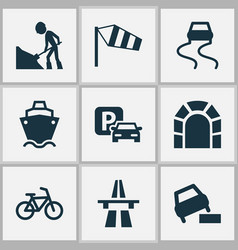 transportation icons set with soft verges tunnel vector image