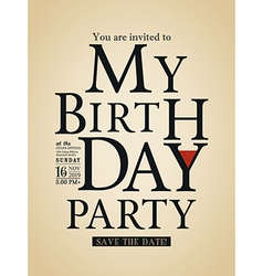 Typography Birthday card design template vector