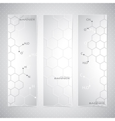 Vertical molecule Set of Banners on gray vector image