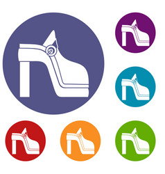 Women shoe icons set vector