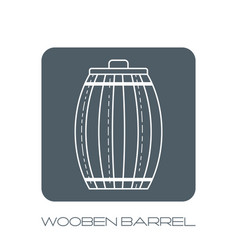 wooden barrel flat icon silhouette on a white vector image vector image