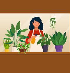 young woman sprays houseplants vector image