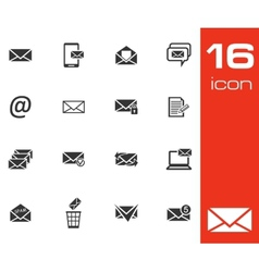 black email icons set on white background vector image