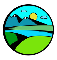 mountain lake with high mountain icon vector image