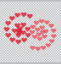 red hearts translucent arranged in the form of vector image vector image
