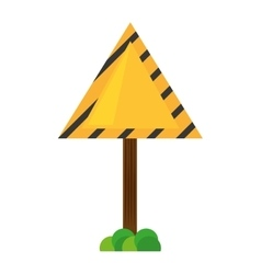 sign road triangle caution yellow empty with grass vector image