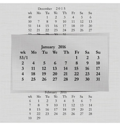 calendar month for 2016 pages January start Monday vector image vector image