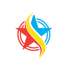 circle star swirl logo vector image vector image