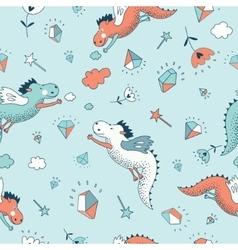Cute funny fantasy seamless dragon vector image vector image