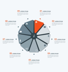 infographic temlate with enneagon 9 options vector image vector image