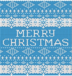 Merry Christmas Pattern knitted sweater blue vector image