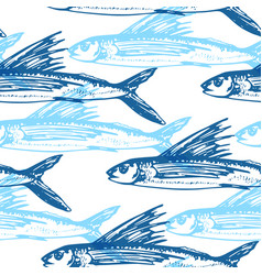pattern with blue flying fish vector image vector image
