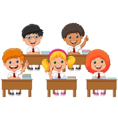 School children in classroom at lesson vector image