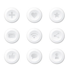 Set of white round internet icons vector image vector image
