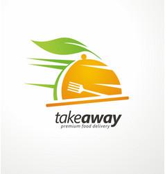 take away food logo design idea vector image vector image