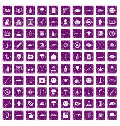 100 oppression icons set grunge purple vector image vector image