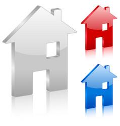 3d home symbol vector image