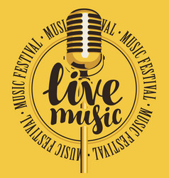 banner live music with microphone vector image