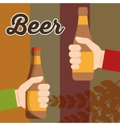 Two hand holds beer bottle poster vector