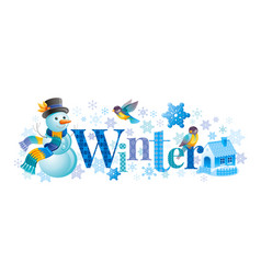 winter text lettering logo snowman vector image