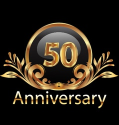 50 years anniversary birthday in gold vector