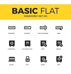 Basic set of password icons vector