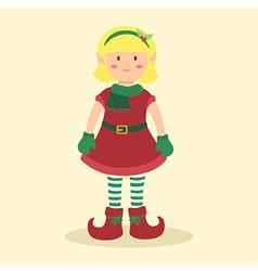 Elf Christmas Blonde Girl vector image vector image