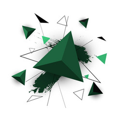 green triangle abstract on white background vector image vector image