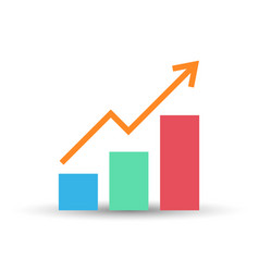 growing bar graph flat icon vector image