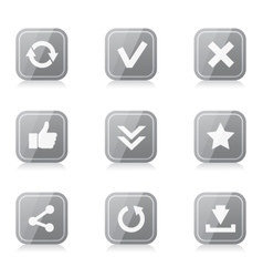 Set of rounded square internet icons with vector image
