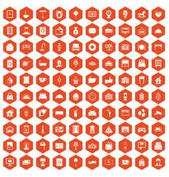 100 hotel icons hexagon orange vector