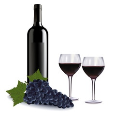 a wine bottle two glasses vector image