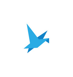 abstract origami blue bird flying template design vector image