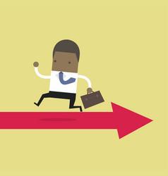 african businessman running opposite arrow way vector image