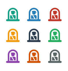 Airport officer icon white background vector